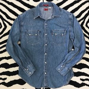 Levi's Fitted Snap Front Denim Shirt